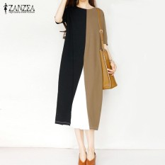 Toko Zanzea Wanita 1 2 Lengan Panjang Kemeja Gaun Longgar Pesta Mid Calf Dress Plus Ukuran Lebih Internasional Online Terpercaya