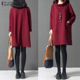 Harga Zanzea Women Autumn Dress Ladies Casual Turtle Neck Long Sleeve Mini Dress Loose Solid Vintage Vestidos Plus Size M 5Xl Wine Red Intl Murah
