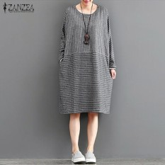 Dimana Beli Zanzea Women Autumn O Neck Long Sleeve Retro Striped Pockets Cotton Linen Casual Loose Party Midi Dress Vestido Plus Size Dark Grey Intl Zanzea