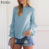 Ulasan Lengkap Zanzea Wanita Blus O Leher Lipatan Long Sleeve Solid Blusas Casual Loose Tops Plus Ukuran Biru Intl