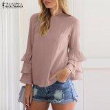 Tips Beli Zanzea Blus Wanita O Leher Flounce Panjang Lengan Solid Blusas Kasual Atasan Longgar Ukuran Plus Pink Intl Yang Bagus