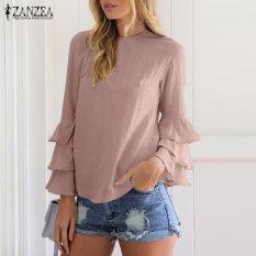 Harga Zanzea Blus Wanita O Leher Flounce Panjang Lengan Solid Blusas Kasual Atasan Longgar Ukuran Plus Pink Intl Original