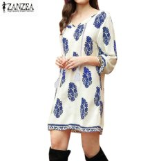 Beli Zanzea Wanita Bohe 3 4 Lengan Longgar Vintage Cetak Pesta Pantai Panjang Shirt Dress Putih Pucat International Cicilan