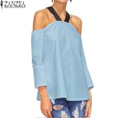 ZANZEA Wanita BoHo Halterneck Kasual Baju Atasan Blus Longgar Musim Panas Wanita 3/4 Lengan dari Bahu Pesta Club Top Blusas S-5XL (biru) -Intl