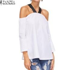 ZANZEA Wanita BoHo Halterneck Kasual Baju Atasan Blus Longgar Musim Panas Wanita 3/4 Lengan dari Bahu Pesta Club Top Blusas S-5XL (Off Putih) -Intl