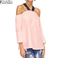 ZANZEA Wanita BoHo Halterneck Kasual Baju Atasan Blus Longgar Musim Panas Wanita 3/4 Lengan dari Bahu Pesta Club Top Blusas S-5XL (Pink) -Intl