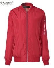 Zanzea Wanita Kasual Longgar Klasik Risleting Panjang Lengan Pendek Jaket Bomber Pengendara Sepeda Quilted Mantel Merah-Internasional