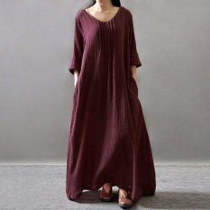 ZANZEA Wanita Gaun Elegan 2016 Wanita Leher V Lengan Panjang Saku Baju Kemeja Kasual Lipit Solid Retro Longgar Panjang Maxi Vestidos-Internasional
