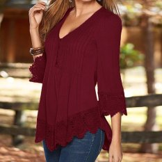 Jual Cepat Zanzea Women Elegant Lace Blouses Shirts Autumn Blusas Asymmetrical Tops Casual Solid S*xy V Neck 3 4 Sleeve Pullovers Wine Red Intl