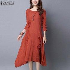 Zanzea Wanita Elegan Style Brief Plain Gaun Musim Semi Gaun Longgar Sederhana Robe Panjang Lengan Irregular