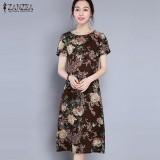 Spek Zanzea Wanita Holiday Vintage Musim Panas Dicetak Floral A Line Gaun Midi Kopi Intl Tiongkok