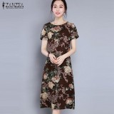 Harga Zanzea Wanita Holiday Vintage Musim Panas Dicetak Floral A Line Gaun Midi Kopi Intl Zanzea Tiongkok