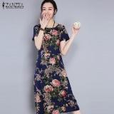 Harga Zanzea Wanita Holiday Vintage Musim Panas Dicetak Floral A Line Midi Gaun Biru Navy Intl Zanzea