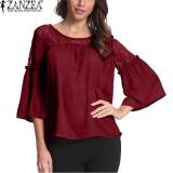 Beli Zanzea Women Lace Shirts Autumn Hollow Out Chiffon Blouses Casual Loose O Neck Flare Sleeve Blusas Femininas Tops Wine Red Intl Online