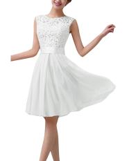 Harga Wanita Tanpa Lengan Renda Pesta Putri Gaun Mini Resmi Pernikahan Terbaru