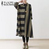 Zanzea Wanita Lapel Longgar Tombol Down Shirt Baju Katun Linen Outwear Besar Stripe Gaun Panjang Hitam Intl Di Hong Kong Sar Tiongkok
