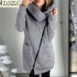 Harga Zanzea Wanita Panjang Hoodie Shirt Kasual Longgar Lengan Panjang Zipper Solid Luaran Bertudung Tops Wanita Fleece Jaket Mantel Grey Origin