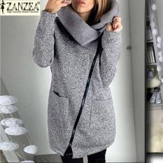 Obral Zanzea Wanita Panjang Hoodie Shirt Kasual Longgar Lengan Panjang Zipper Solid Luaran Bertudung Tops Wanita Fleece Jaket Mantel Grey Murah