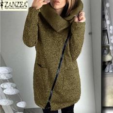 Zanzea Wanita Panjang Hoodie Shirt Kasual Longgar Lengan Panjang Zipper Solid Hooded Outwear Tops Wanita Fleece Jacket Mantel Khaki Zanzea Diskon 30