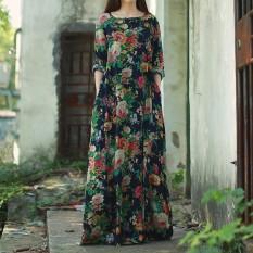 ZANZEA Wanita Lengan Panjang Berwarna Kuning Eye Baju Dolman Vintage Floral Print Gaya Cina Katun Pesta Gaun Panjang Maxi Baggy Kaftan Vestido PLUS Ukuran Lebih Angkatan Laut-Internasional