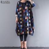 Beli Zanzea Wanita Lengan Panjang Cetak Periksa Plaid Longgar Ditambah Gaun Panjang Sweatshirt Biru Intl Murah
