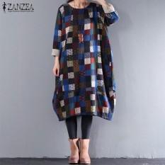 Ulasan Zanzea Wanita Lengan Panjang Cetak Periksa Plaid Longgar Ditambah Gaun Panjang Sweatshirt Biru Intl