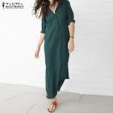 Harga Zanzea Wanita Lengan Panjang Sisi Celah Party Cotton Plus Maxi Gaun Panjang Vestidos Hijau Intl Yang Bagus