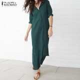 Zanzea Wanita Lengan Panjang Sisi Celah Party Cotton Plus Maxi Gaun Panjang Vestidos Hijau Intl Zanzea Diskon 50