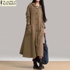 Toko Zanzea Perempuan Maxi Gaun 2017 Musim Gugur Vintage Santai Longgar Panjang Wanita Gaun Leher V Lengan Panjang Hooded Cotton Khaki Termurah