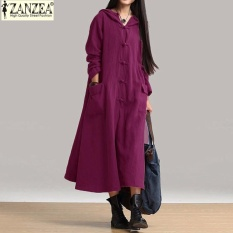 Spek Zanzea Perempuan Maxi Gaun 2017 Musim Gugur Vintage Santai Longgar Panjang Wanita Gaun Leher V Lengan Panjang Hooded Cotton Ungu Zanzea