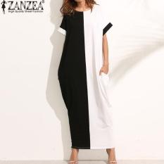 ZANZEA Wanita O Leher Pendek Lengan Kasual Longgar Lama Maxi Gaun Musim Panas Batwing Pesta Malam Kaftan Vestido Plus Ukuran S-5XL (hitam Putih) -Intl