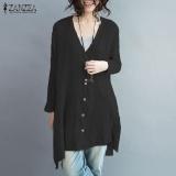 Review Toko Zanzea Wanita Terlalu Besar Cotton Linen Tombol V Blusas Leher Lengan Panjang Tidak Teratur Split Musim Gugur Fashion Blus Tops Shirt Hitam Intl