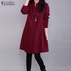 Zanzea Wanita PLUS Berdiri Kerah Tombol Lengan Panjang Mini Gaun Anggur Merah-Internasional