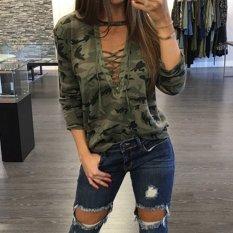 Harga Zanzea Wanita Blus Kemeja Wanita Berlengan Panjang Untuk Up V Blusas Leher Kasual Fashion Kamuflase Print Tops Intl Online