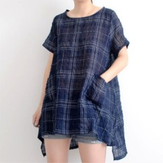 Zanzea Wanita Musim Panas Pendek Lengan Baju Kaus Blus Plus Ukuran Jubah Terbaik Biru Laut-Internasional