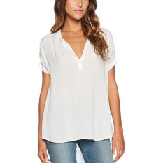 Jual Zanzea Musim Panas Wanita Leher V Mengenakan T Shirt Kasual Wanita Longgar Atasan Sifon Lengan Pendek Blus Putih Import