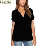 Ulasan Zanzea Women Summer V Neck T Shirt Casual Short Sleeve Chiffon Top Lady Loose Blouse Black Intl