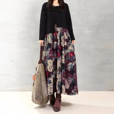 Zanzea Wanita Kasual Elegan Gaun Model Baju Panjang Longgar Lengan Musim 2016 Cetak Sambatan Sprei Katun Gaun Maksi Vestidos Ukuran Lebih Bunga Merah
