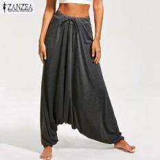 Tips Beli Zanzea Wanita Yoga Celana Longgar Elastis Tinggi Pinggang Plain Ruffles Panjang Celana Abu Abu Gelap Internasional