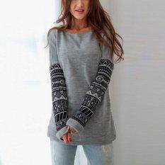 Zanzea Wanita Kapas Atasan Sweter Tanpa Kancing Lengan Panjang Kasual Blus Sweater Kemeja Jumper Grey-Internasional