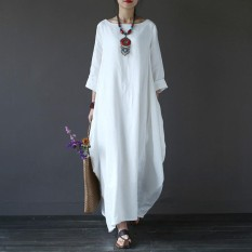 Beli Zanzea Womens Crewneck 3 4 Batwing Sleeve Baggy Maxi Long Shirt Dress Casual Party Kaftan Solid Robe Vestido Plus Size Off White Intl Online