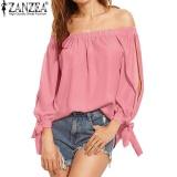 Zanzea Wanita Fashion Slash Leher Ikatan Simpul Dasi Split Lengan Panjang Dari Bahu Blus Blusas Casual Padat Longgar Tops Shirt Pink Intl Zanzea Diskon 50