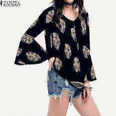 Review Zanzea Wanita Renda Up Kaus Kerah V Besar Boho Floral Cetak Flare Sleeve Casual Blus Longgar Tops Navy Intl Terbaru