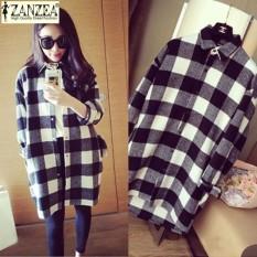 ZANZEA Womens Plaid Check Buttons Down Shirt Dress Loose Lapel Asym Tops Blouse Plus Size (Black Check) - intl