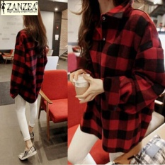 Zanzea Wanita Kotak-kotak Periksa Tombol Down Shirt Dress Longgar Kelapak ASYM Tops Blus Plus Ukuran (Cek Merah) -Intl