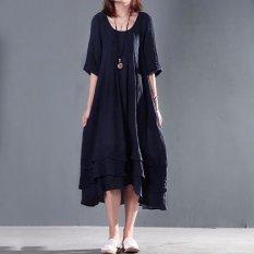 Spesifikasi Zanzea Wanita Vintage Sendok Leher Asimetris Kaftan Panjang Kasual Maxi Dress Navy Intl Merk Zanzea