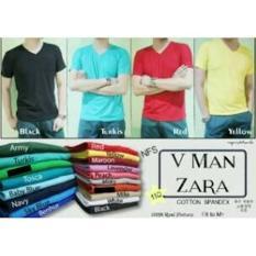 Zara Basic Kaos Vneck Pria Spandek - GROSIR MURAH - Ns9ipc