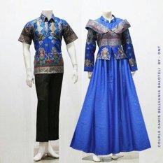 Zaviera Batik Couple Sarimbit Gamis Baju Pesta Belvania - Biru