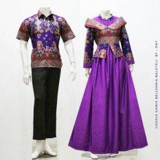Zaviera Batik Couple Sarimbit Gamis Baju Pesta Belvania - Ungu