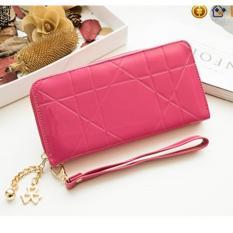 Jual Zeebee Geometric Pattent Leather Long Wallet Dompet Panjang Wanita Pink Grosir